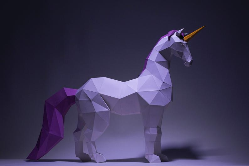 Photo of Unicorn Paper Craft, Digital Template, Origami, PDF Download DIY, Low Poly, Trophy, Sculpture, Unicorn Model