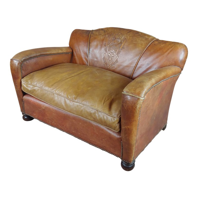 Stupendous 1930S Antique English Leather Loveseat Products Leather Bralicious Painted Fabric Chair Ideas Braliciousco