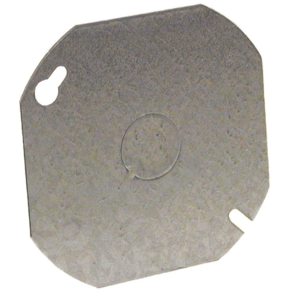4 in. Octagon Flat Cover, with 1/2 Knockouts (25-Pack)