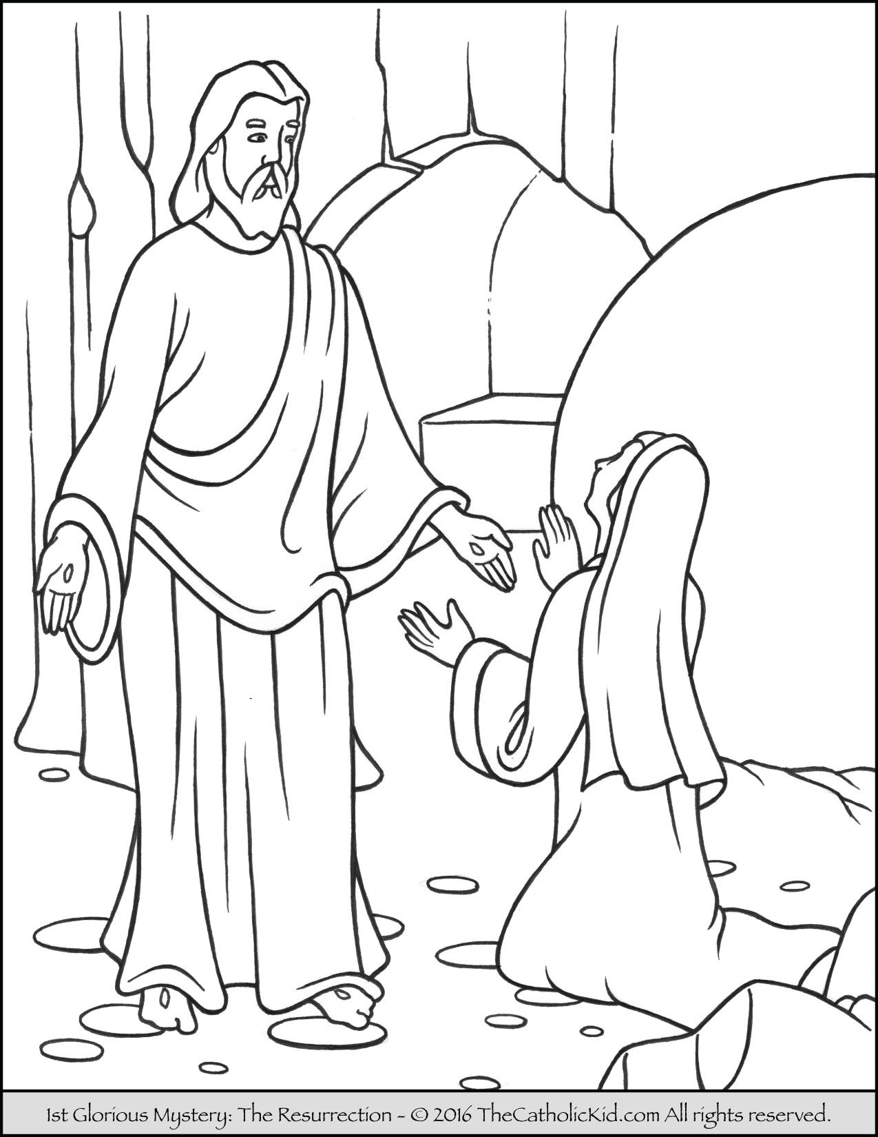 The 1st Glorious Mystery Coloring Page Resurrection Jesus Rises From Dead On