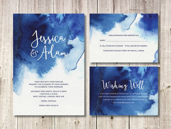 Navy Blue Watercolour Full Invitation Suite Invitation