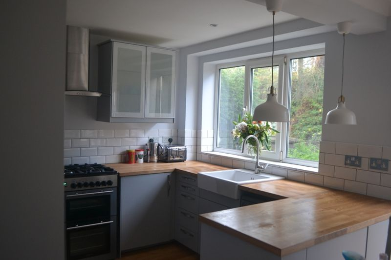 My completely renovated kitchen with ikea veddinge grey for Grey kitchen white worktop