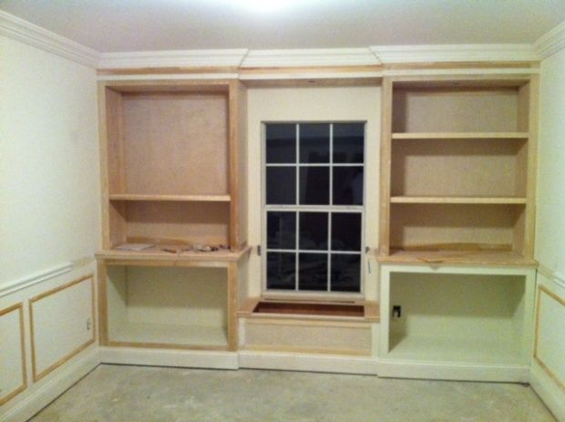 Http Www Woodworkingtalk F17 Lower Cabinets Upper Bookcases Flanking Window Seat Built Construction Questions 36612