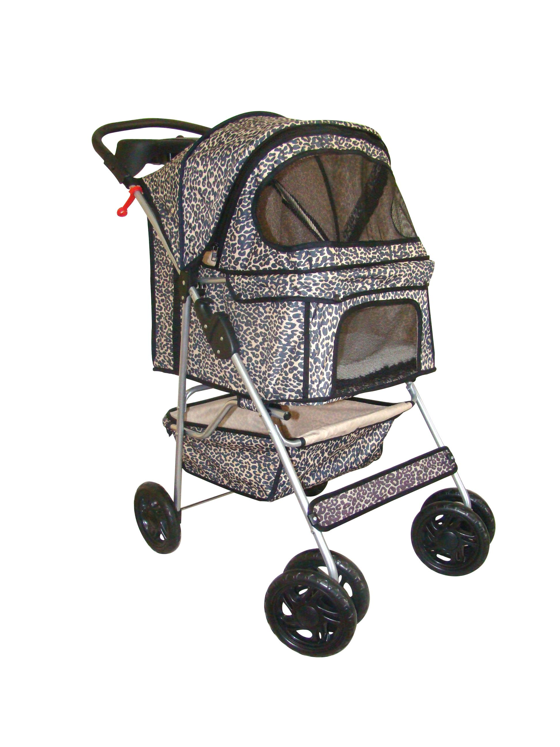 Leopard Print 4 Wheels Dog Stroller Bestpet Cat