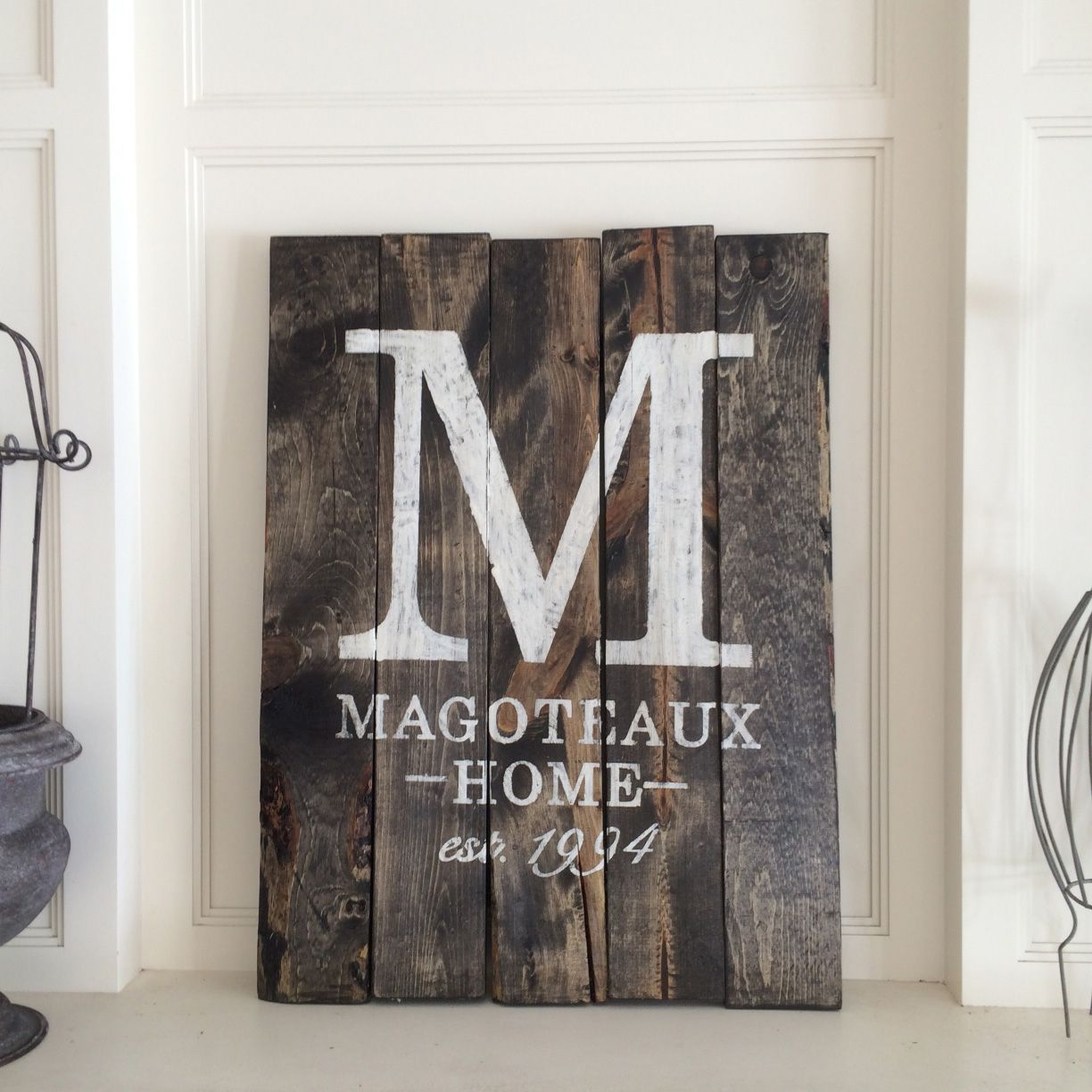 18x24 Stained Monogram Established Sign | BoardAndBrush.com ...