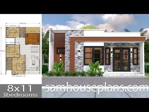 House Plans 8x11 With 3 Bedrooms The House Has Car Parking And Garden Living Room Dini Projectos De Casas Projetos De Casas Simples Casas Feitas De Container