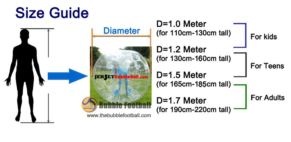 bubble football size guide