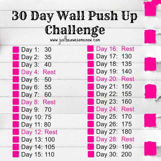 Free Pdf 30 Day Wall Push Up Challenge Click On The Image To Be Taken To The Download Page Wall Push Ups Push Up Challenge 30 Day Push Up