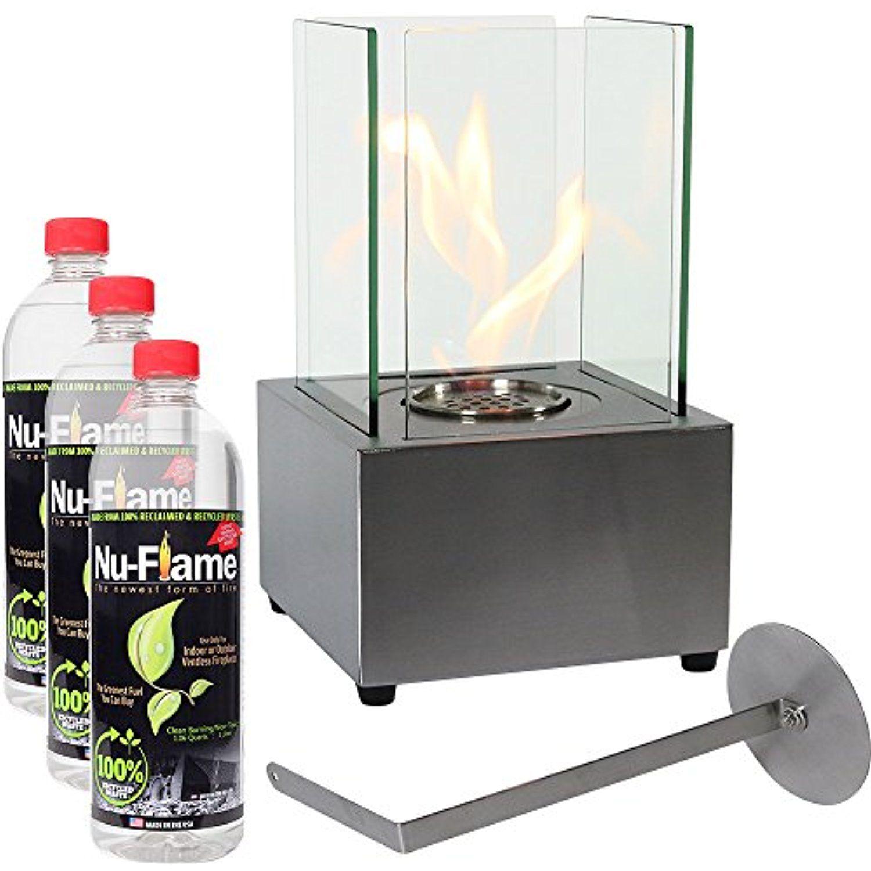 Sunnydaze Stainless Steel Ventless Tabletop Fireplace