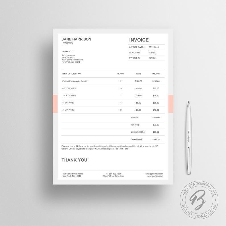 Invoice Template 05 Receipt Template Invoice Template For Etsy In 2020 Quote Template Design Invoice Template Estimate Template