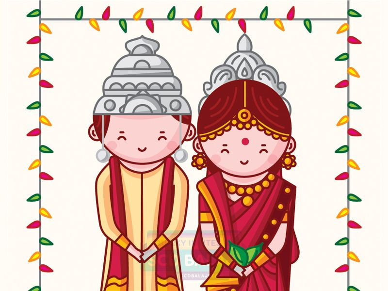 Bengali Wedding Invitation Illustration and Design by SCD Balaji ...