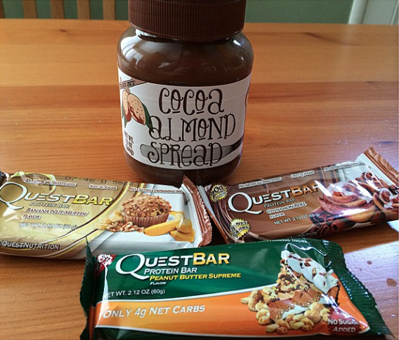 Baked Quest Bars slathered in Cocoa Almond Spread = HEAVEN!! CLICK the pin to see how I make mine :)