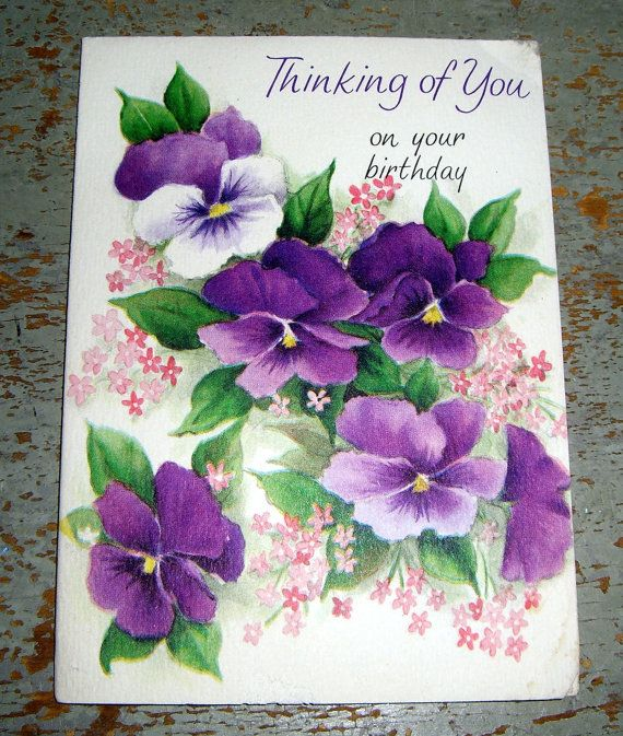Vintage cards hallmark birthday purple pansy unused by Hallmark flowers