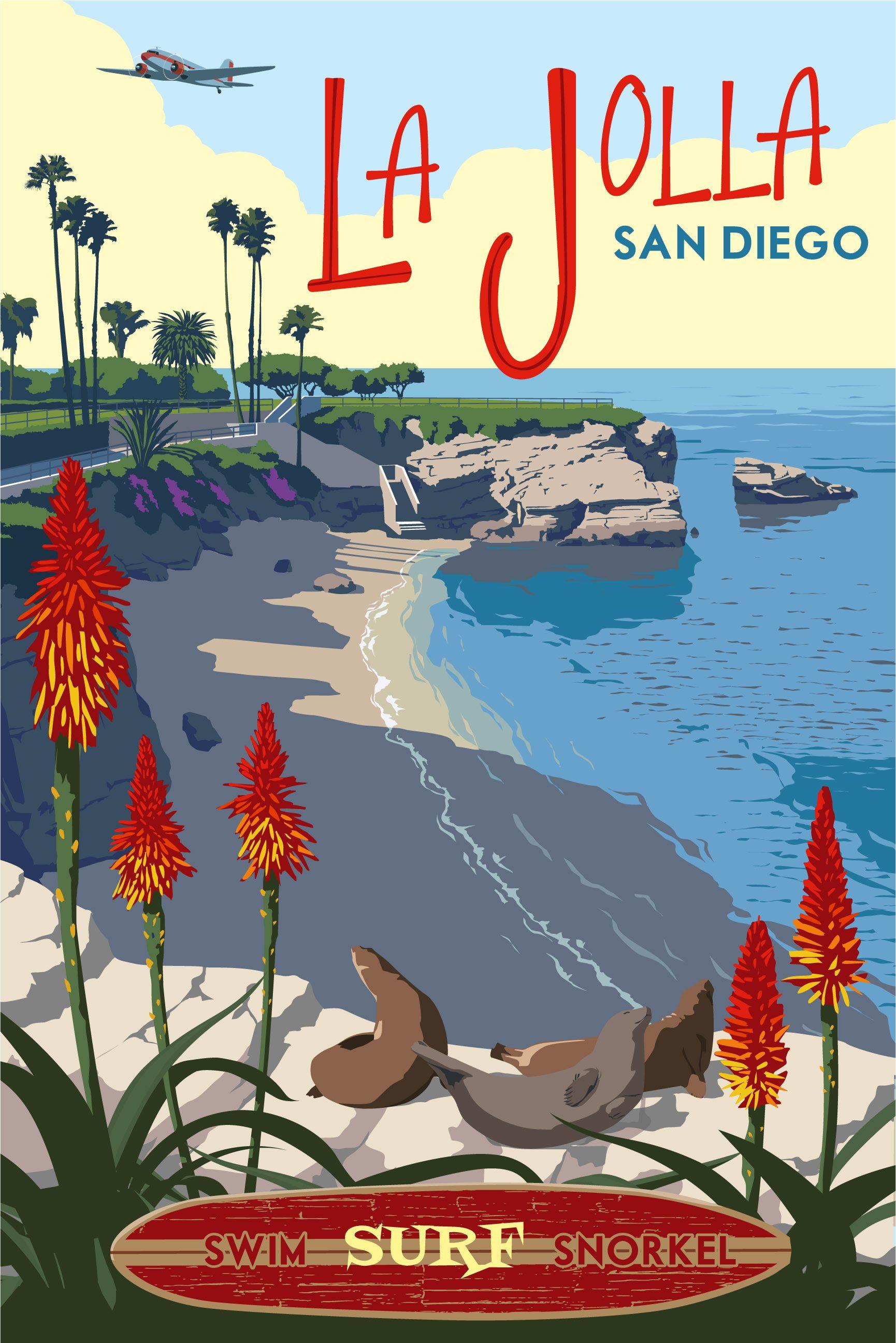 Carteles de viajes de california vintage
