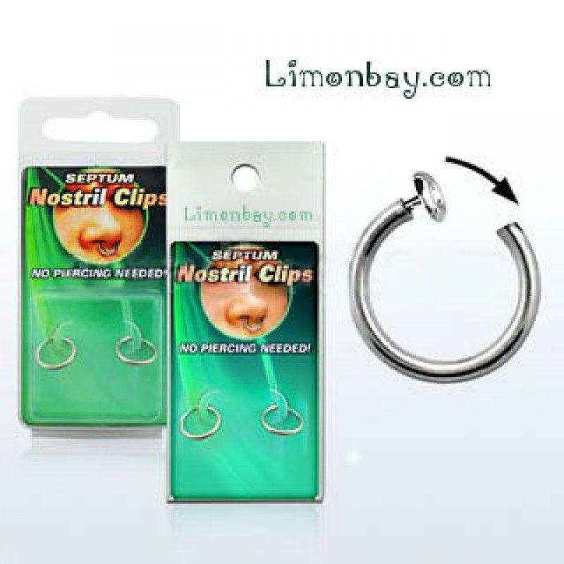 Piercing de nariz falso. Septum o Nostril (aleta de la nariz). Sistema clip a presión, con resorte interno. ¿Quieres saber cómo te quedaría un piercing sin hacértelo?