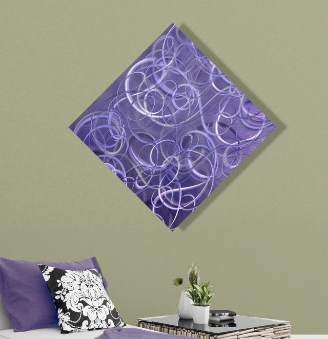 Contemporary purple abstract metal wall art home decor plum chaos by jon allen in art direct from the artist paintings