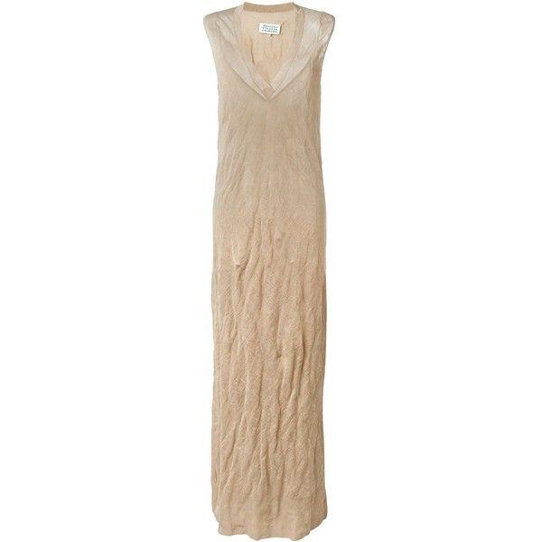 Maison Margiela knit tank maxi dress (£815) ❤ liked on Polyvore featuring dresses, sleeveless maxi dress, beige knit dress, low v neck dress, beige maxi dress and sleeveless shift dress