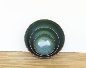 Stoneware Ceramic Nesting Pottery Bowl Set in Sea Mist Glaze - Set of Three
