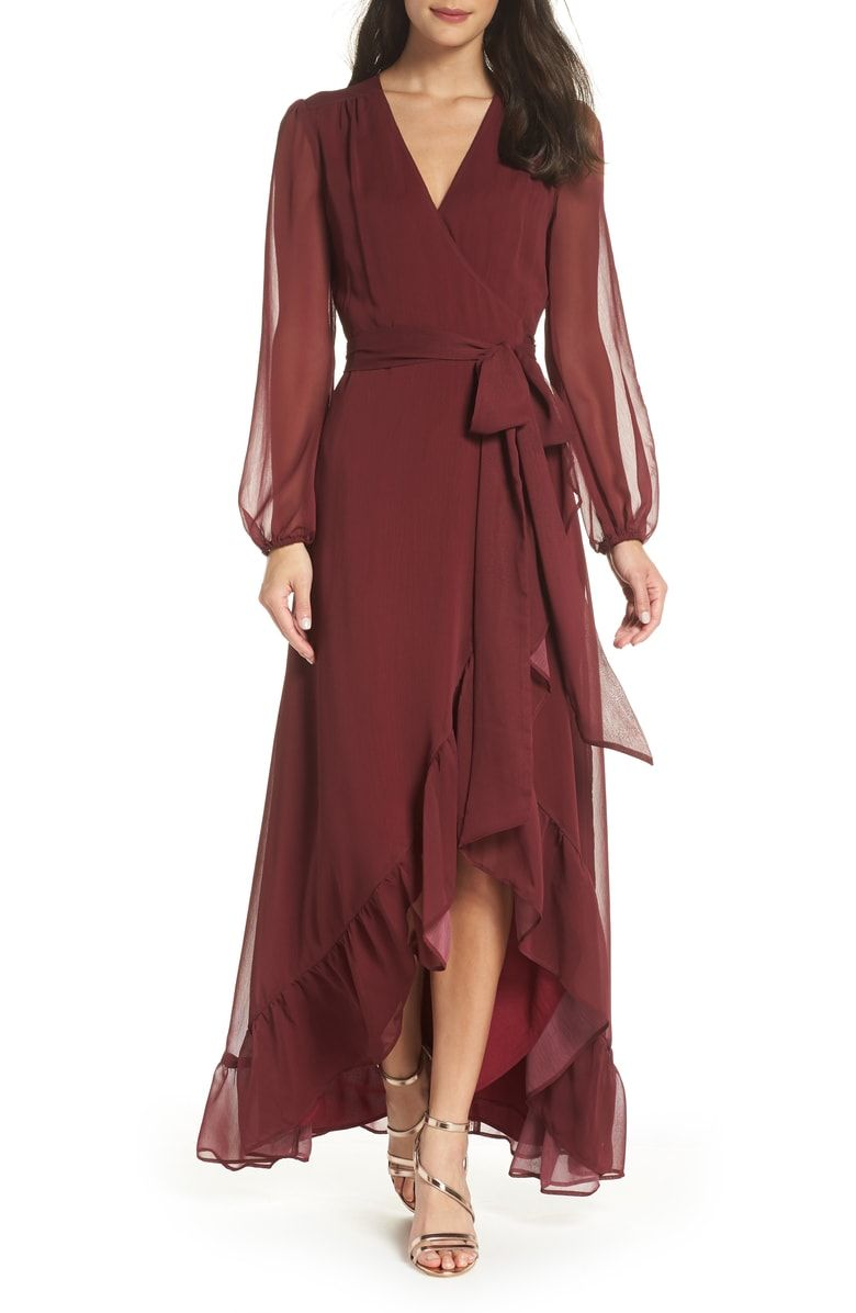 Free shipping and returns on wayf meryl long sleeve wrap maxi dress