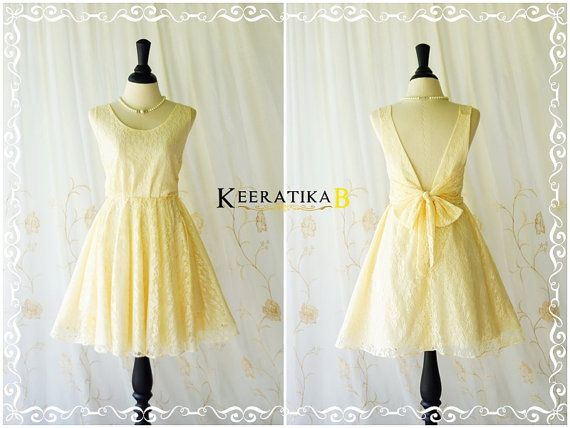 A Party V Charming Dress Vanilla Lace Backless Dress Pale Yellow ...