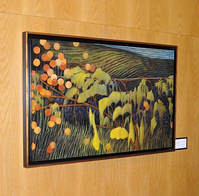 Theresa's contemporary pointillist paintings have amazing color and light.