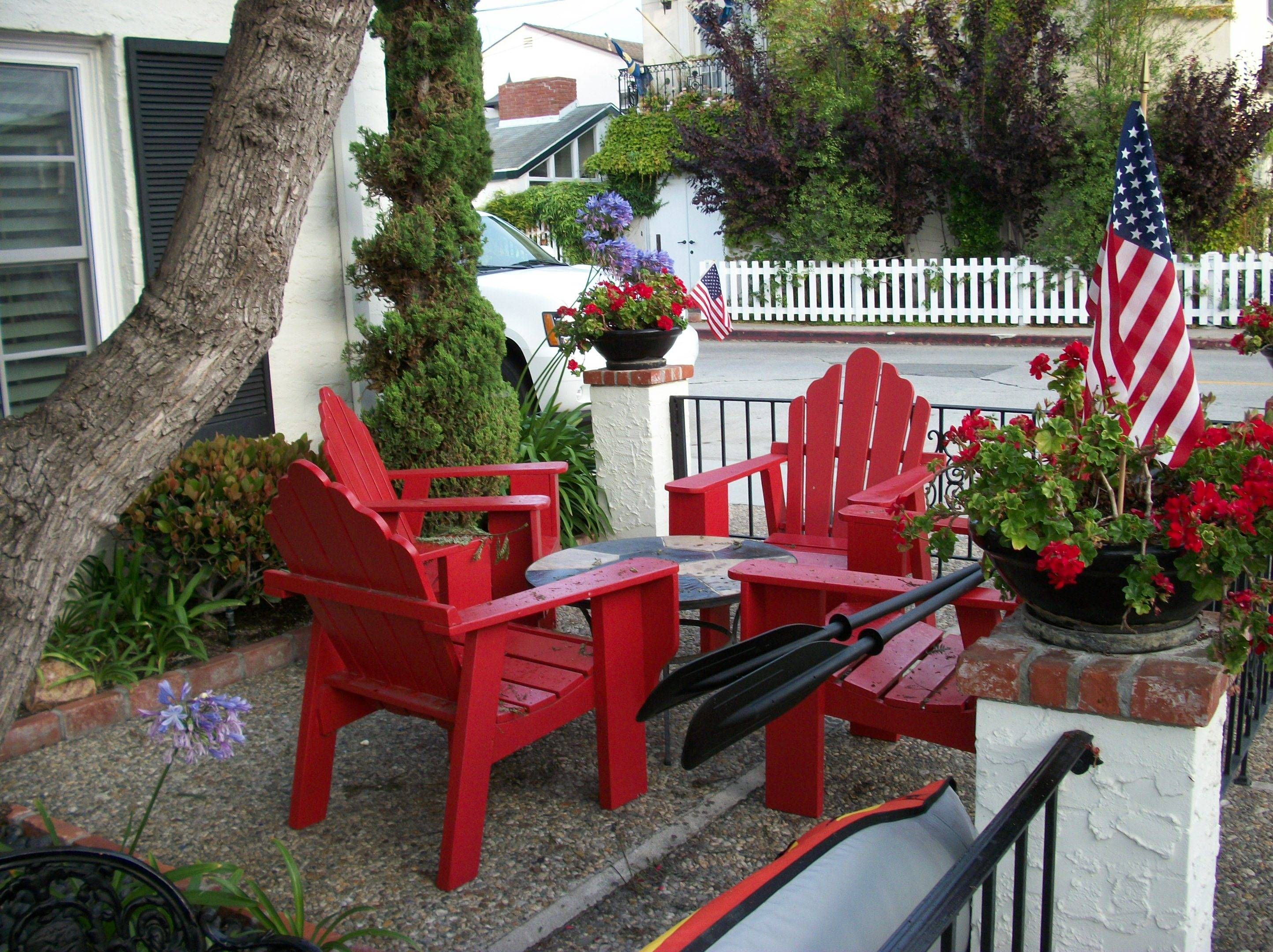 Love The Red Adirondack Chairs! Decorating Ideas For The Of July    Patriotic Porch, Patio And Deck Decorations   Patriotic Porches And Patios    Decorating ...