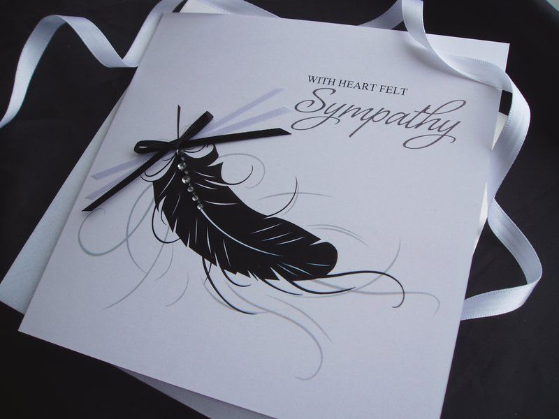 In Sympathy Feather Card - pink & posh