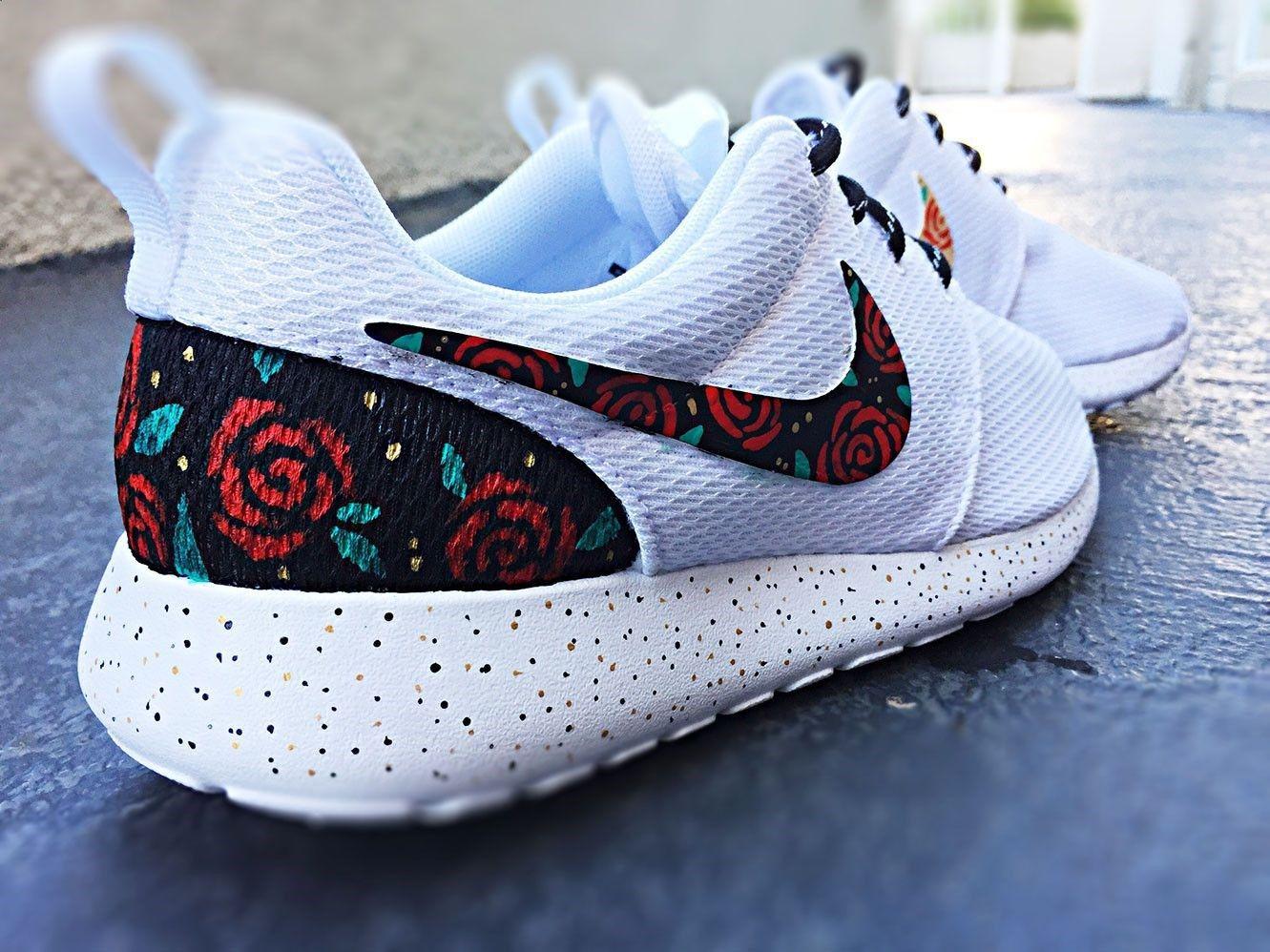 Teal Floral Nike Roshe Run White Custom