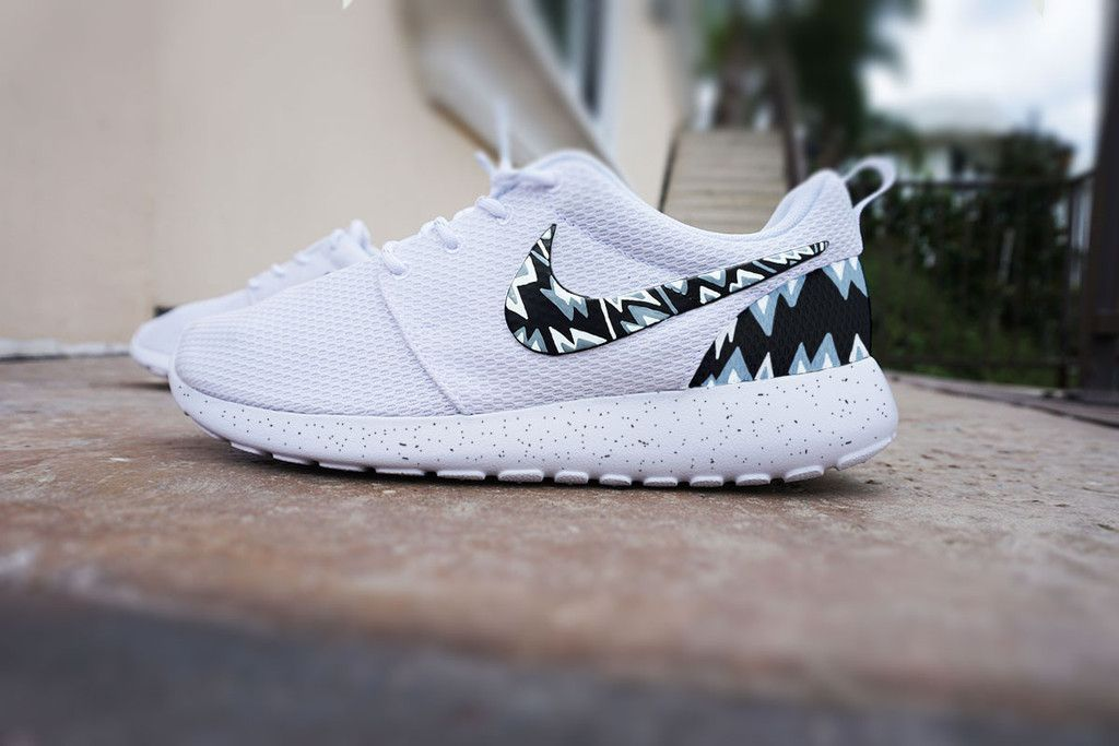 bfa5556abdb1 ... germany custom nike roshe run shoes white with grey and black aztec  design triangles grey white