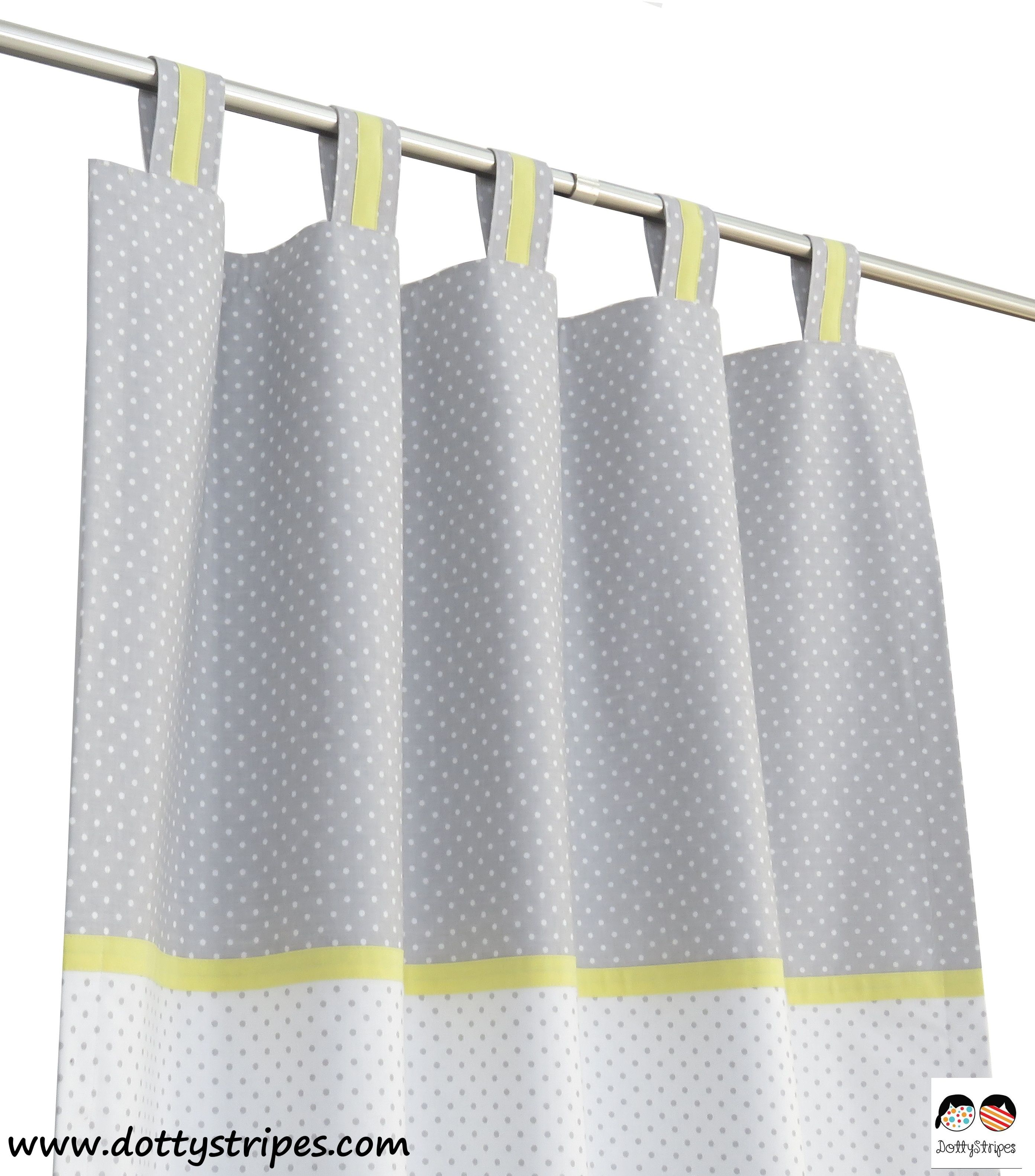 Nursery Curtains Yellow Grey White I Window