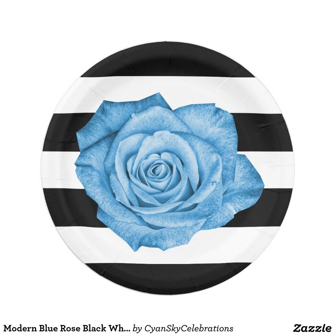 Modern Blue Rose Black White Striped Wedding Party Paper Plate  sc 1 st  Pinterest & Modern Blue Rose Black White Striped Wedding Party Paper Plate ...