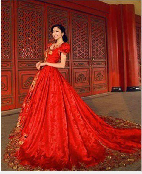 Unique Set Red Baroque Palace Wedding Dresses High Grade Gold Rose Do Manual Work