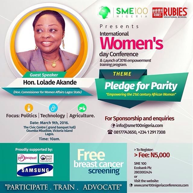 Repost @sme100nigeria ・・・ Lola Akande The Honorable Commissioner forWomen Affairs Lagos State would be speaking M the #sme100internationalwomensdayconference. To attend Register. www.sme100nigeriaconferences.com March9th   #Sales #business #marketing #money #selling #motivation #goals #inspiration #amazing #cool #entrepreneur #entrepreneurship #startup #photooftheday #smallbusiness #tweegram #quoteoftheday #TheCzarConomist #TakeTheLeadInStyle #consulting #nigeria #lagos