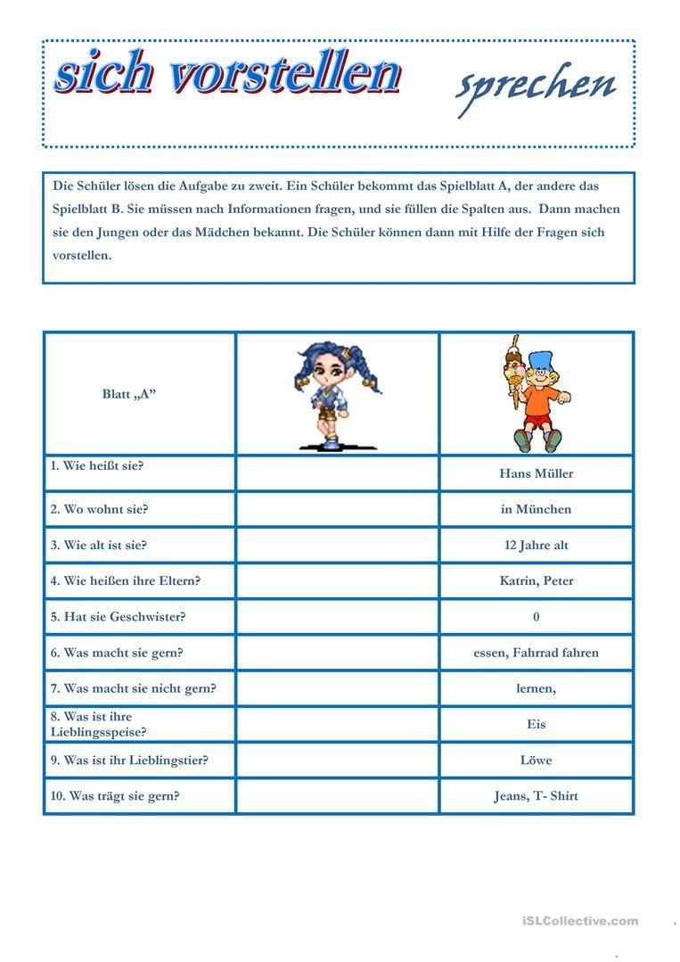 sich vorstellen | German language, Language and Worksheets