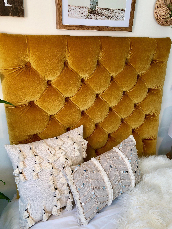 Dorm Room Twin Upholstered Headboard In Gold Velvet Tufted 2