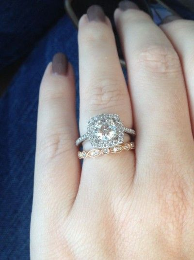 show off your white gold engagement ring with a rose gold wedding band pics - Rose Gold And White Gold Wedding Rings