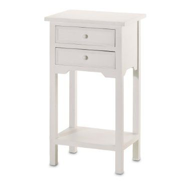 Amazon Com 2 Wood White End Tables Night Stands With 2 Drawers