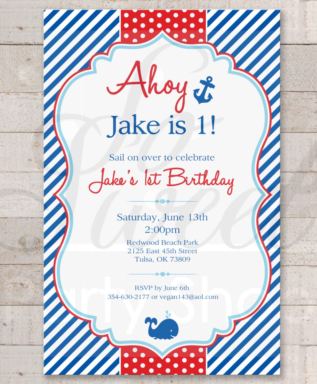 Nautical 1st Birthday Invitations - Boys 1st Birthday Invitations ...