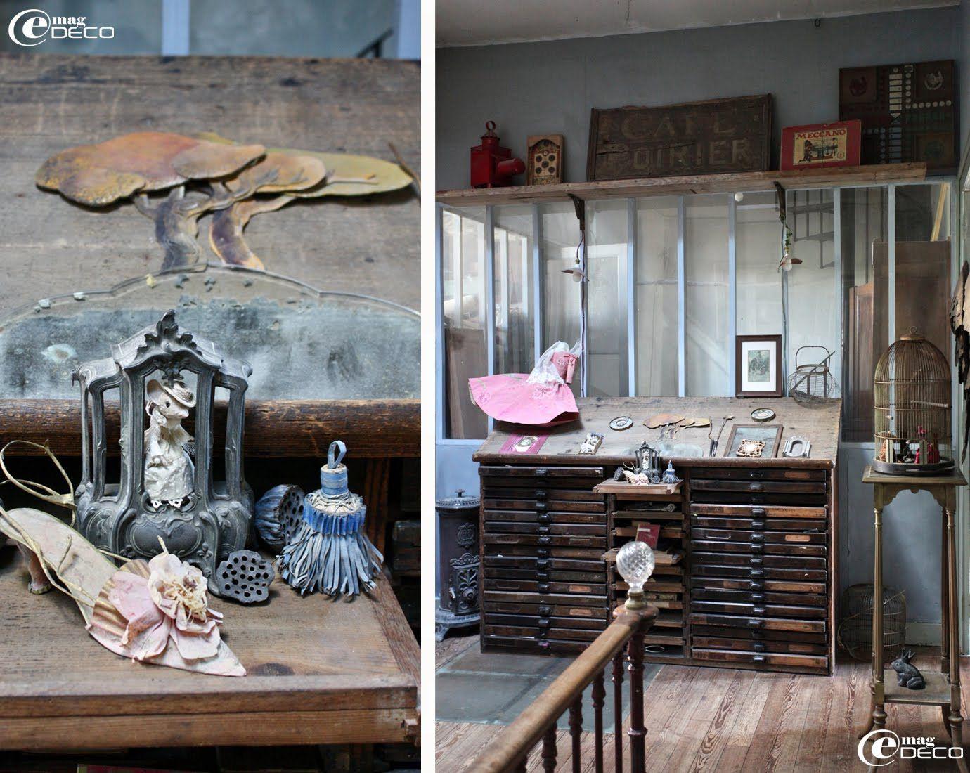 vieux meuble d 39 imprimerie devant une verri re dans la cage d 39 escalier chez miss clara. Black Bedroom Furniture Sets. Home Design Ideas