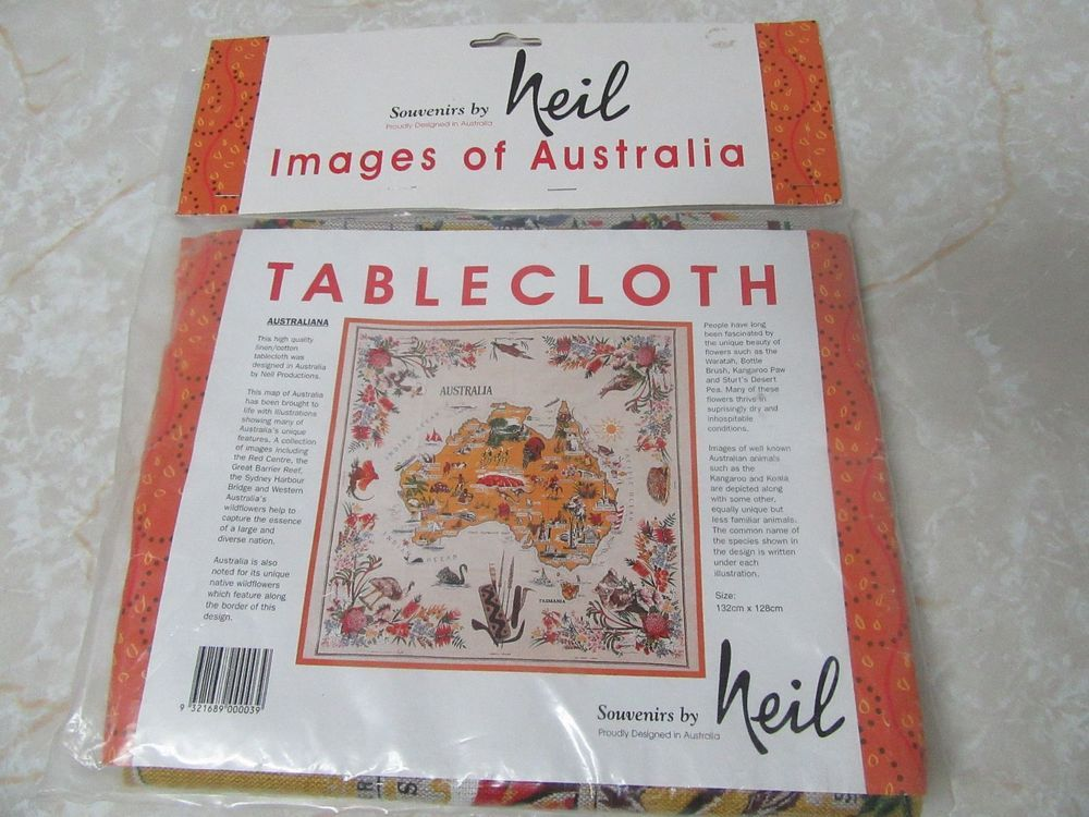 Australia Linen Cotton Souvenir By Neil Tablecloth 52 X50 Map