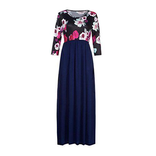 cfab87a44a43 Yanhoo Moda Abito Gonna T-shirt sera allentata Vestito Abito Donna Elegante  Casual Spiaggia Dress