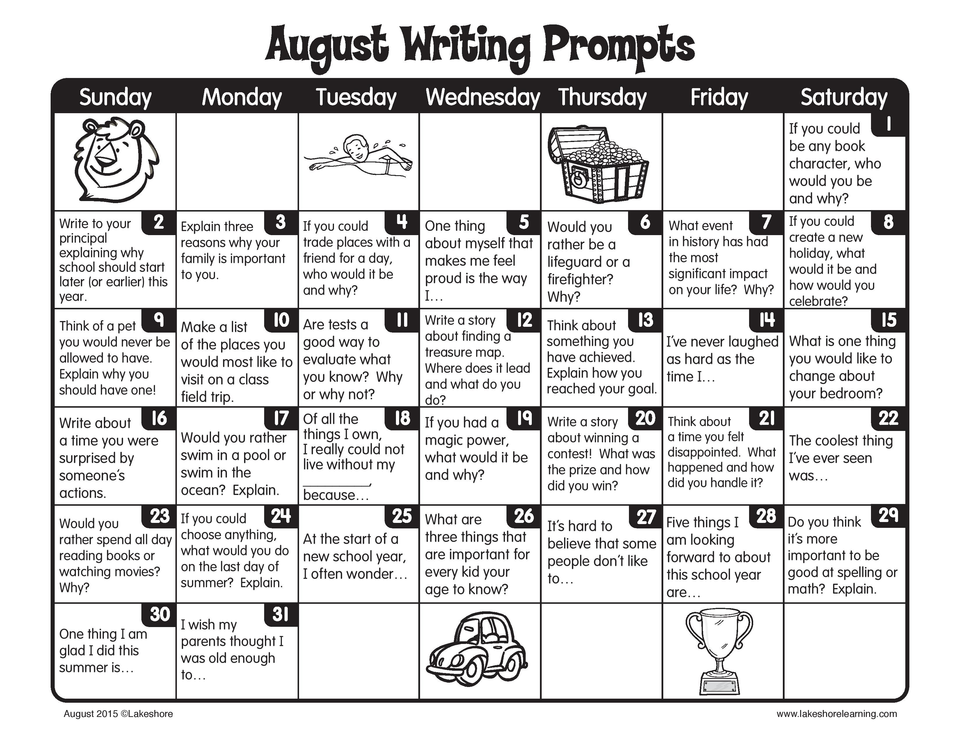 Our August Writing Prompts Are Filled With Lots Of Fun