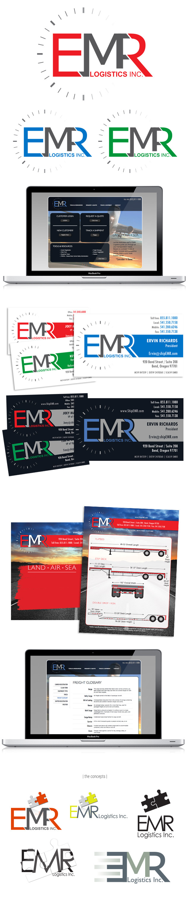 EMR Logistics, Inc. Logo / Brand Design, Website Design + Development, Print Collateral http://www.ShipEMR.com