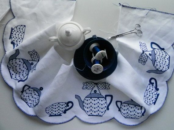 BLUE TEAPOT. Machine embroidery design by LilysEmbroideryShop
