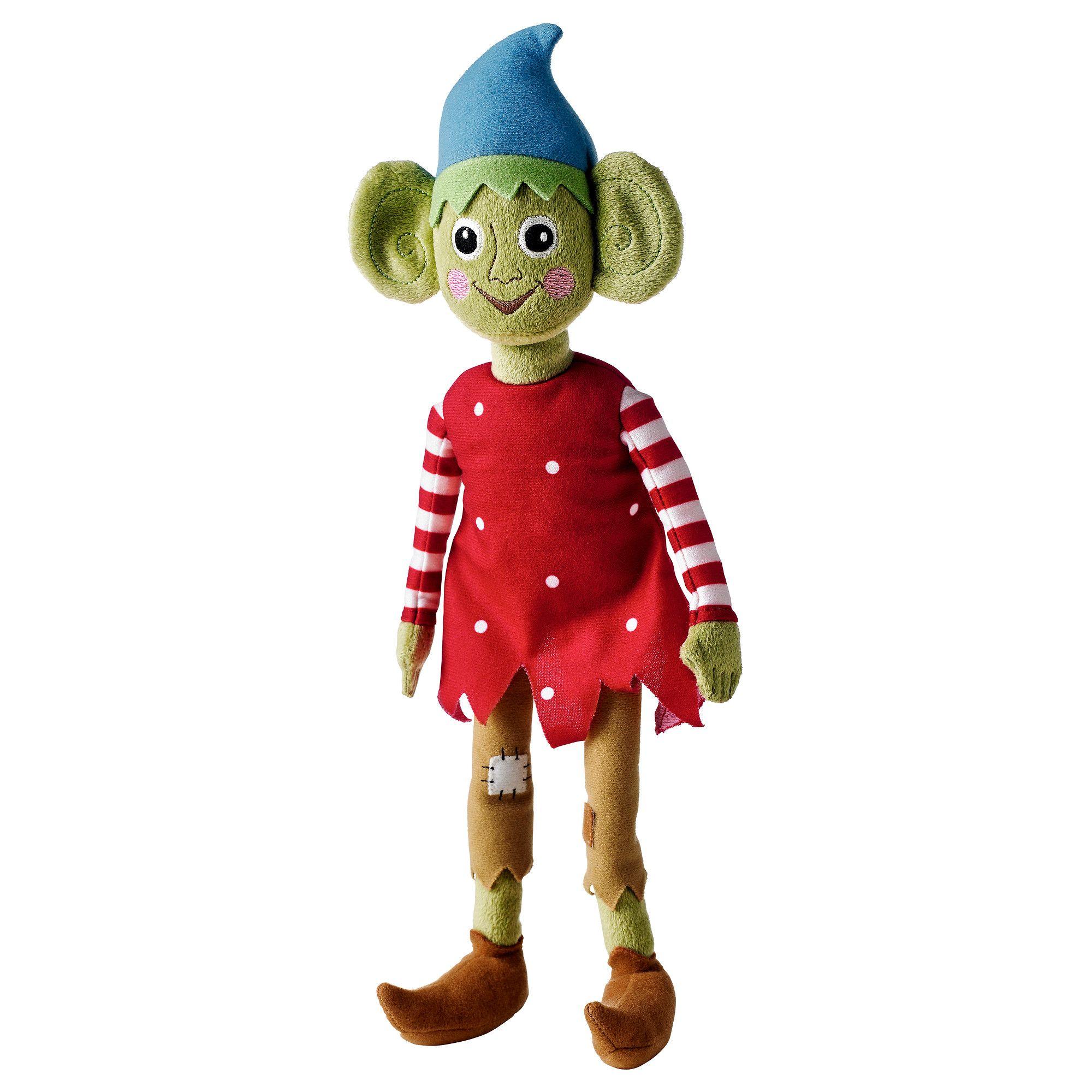 """KRULLIG Soft toy - IKEA, elf. Length: 13 ¾ """". Designer Silke Leffler. Fabric: 100 % polyester Filling: Polyester fiber fill"""