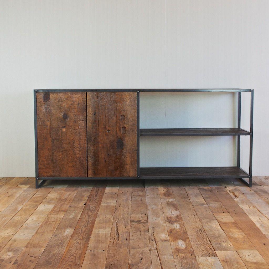 Handmade Media Cabinet, Reclaimed Wood From New York City