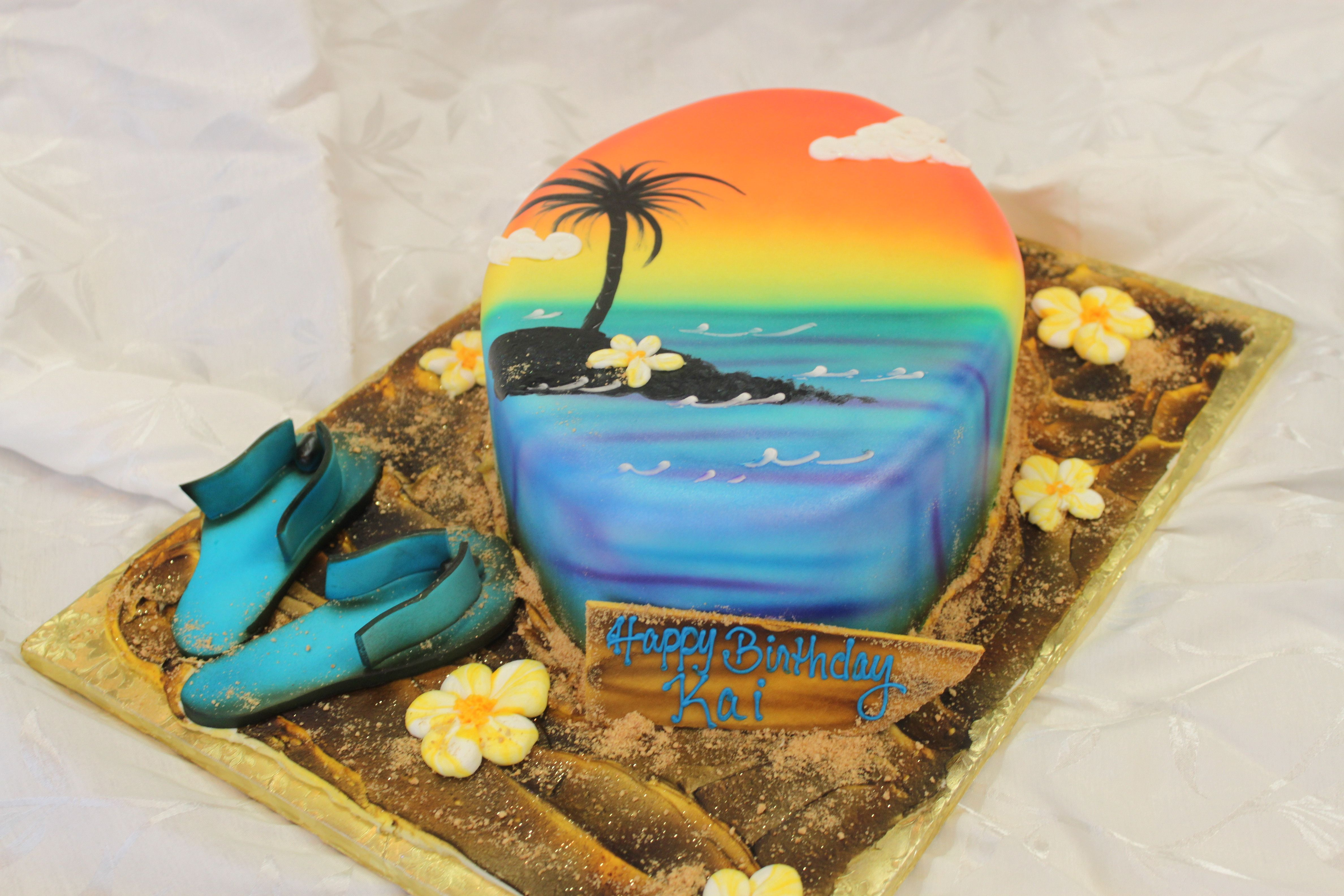 Summer Beach Theme Birthday Cake By Sweet Layers Cakes With