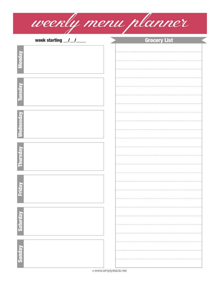 Weekly Menu Planner Printable Weekly menu planners, Menu planners