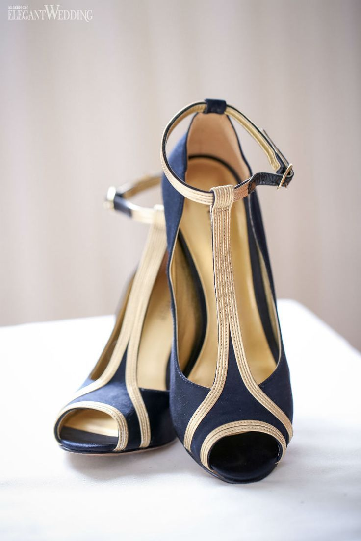 Nine West navy and gold wedding shoes