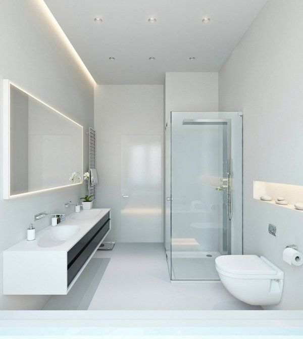 Bathroom Lighting Ideas Led Lighting Contemporary White Minimalist Bathroom Glass Shower Cabin Led Bathroom Lights Bathroom Ceiling Light Minimalist Bathroom